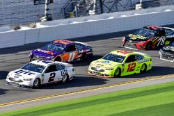 Brad Keselowski, Team Penske Ford Fusion, Denny Hamlin, Joe Gibbs Racing Toyota, and Ryan Blaney, Team Penske Ford Fusion