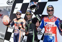 Polesitter Johann Zarco, Monster Yamaha Tech 3, second place Marc Marquez, Repsol Honda Team, third place Danilo Petrucci, Pramac Racing