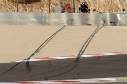 Skid marks after the crash of Lewis Hamilton, McLaren Mercedes, MP4-23