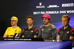 Nico Hulkenberg, Renault Sport F1 Team, Romain Grosjean, Haas F1, Fernando Alonso, McLaren, Kevin Magnussen, Haas F1 in the Press Conference