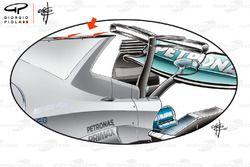 Mercedes W08 shark fin en uitlaat