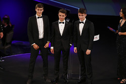 David Coulthard and Lee McKenzie on stage with George Russell, Lando Norris, Charles Leclerc
