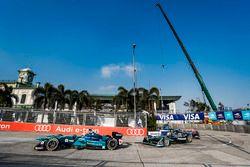 Oliver Turvey, NIO Formula E Team, leads Nelson Piquet Jr., Jaguar Racing