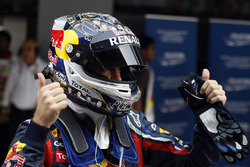 Sebastian Vettel, Red Bull Racing RB7 Renault, celebrates a record pole position