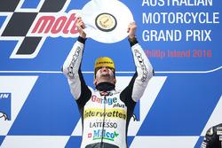 Thomas Lüthi, Interwetten, fête sa victoire sur le podium