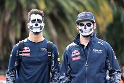 Daniel Ricciardo, Red Bull Racing y Max Verstappen, Red Bull Racing llegan al circuito pintados en l