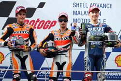 Podium: Race winner Dani Pedrosa, Repsol Honda; second place Marc Marquez; third place Jorge Lorenzo, Yamaha
