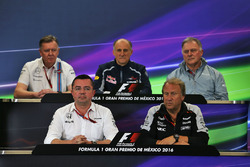 The FIA Press Conference (from back row (L to R): Mike O'Driscoll, Williams Group CEO; Franz Tost, Scuderia Toro Rosso Team Principal; Dave Ryan, Manor Racing Racing Director; Eric Boullier, McLaren Racing Director; Robert Fernley, Sahara Force India F1 Team Deputy Team Principal