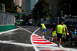 The pit lane entrance is painted