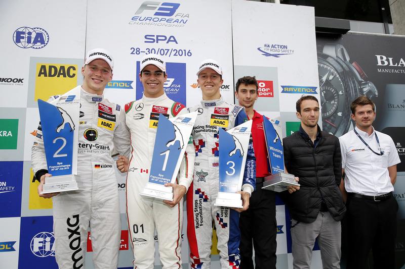 Podio: ganador de la carrera Lance Stroll, Prema Powerteam, Dallara F312 - Mercedes-Benz; segundo lugar Maximilian Günther (DEU, Prema Powerteam, Dallara F312 – Mercedes-Benz; tercer lugar Ben Barnicoat, HitechGP, Dallara F312 - Mercedes-Benz