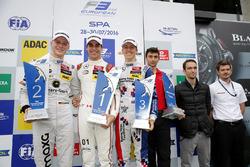 Podium: Race winner Lance Stroll, Prema Powerteam, Dallara F312 - Mercedes-Benz; second place Maximilian Günther (DEU, Prema Powerteam, Dallara F312 – Mercedes-Benz; third place Ben Barnicoat, HitechGP, Dallara F312 - Mercedes-Benz