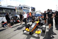 First start row: Callum Ilott, Van Amersfoort Racing Dallara F312 - Mercedes and Joel Eriksson, Moto