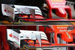Comparaison de l'ancienne et de la nouvelle versions de l'aileron de la Ferrari SF16-H