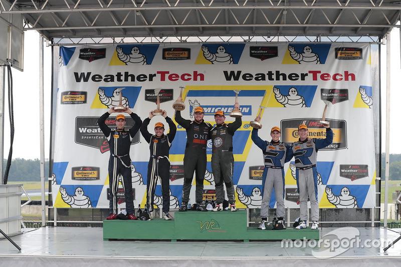 Podium: race winners Daniel Burkett, Marc Miller, CJ Wilson Racing, second place Scott Maxwell, Billy Johnson, Multimatic Motorsports, third place Cameron Cassels, Trent Hindman, Bodymotion Racing