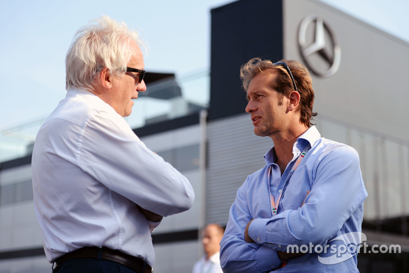 (L to R): Charlie Whiting, FIA Delegate with Jarno Trulli