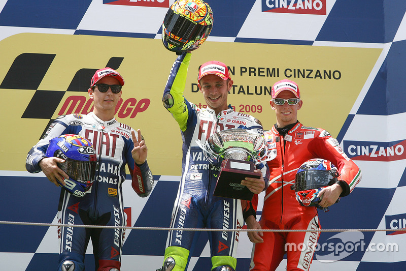 Podium: winner Valentino Rossi, Yamaha Factory Racing, second place Jorge Lorenzo, Yamaha Factory Racing, third place Casey Stoner, Ducati Team
