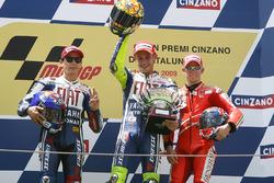 Podio: ganador Valentino Rossi, Yamaha Factory Racing, segundo lugar Jorge Lorenzo Yamaha Factory Ra