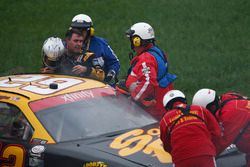 Brendan Gaughan, Richard Childress Racing Chevrolet after a crash