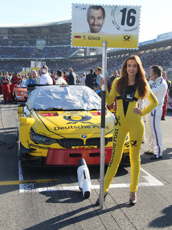 Grid girl of Timo Glock, BMW Team RMG, BMW M4 DTM