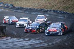 Sébastien Loeb, Team Peugeot Hansen; Mattias Ekström, EKS RX Audi S1; Petter Solberg, PSRX Citroën D