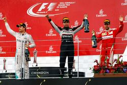 The podium (L to R): Nico Rosberg, Mercedes AMG F1, race winner; Sergio Perez, Sahara Force India F1, third; Sebastian Vettel, Ferrari, second