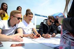 autograph session, Nikita Mazepin, HitechGP Dallara F312 – Mercedes-Benz; Ben Barnicoat, HitechGP Da