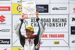 Podium race 1 Asia Production 250cc: winner Apiwat Wongthananon