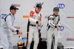 Podium: race winner Konrad Czaczyk, second place Kyle Kirkwood, third place Cameron Das