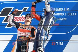 Podio: ganador de la carrera Dani Pedrosa, Repsol Honda Team y el tercer lugar Jorge Lorenzo, Yamah
