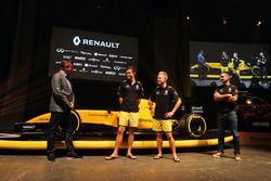David Croft, Sky Sports Commentator, Jolyon Palmer, Renault Sport F1 Team, Kevin Magnussen, Renault Sport F1 Team and Cyril Abiteboul, Renault Sport F1 Managing Director