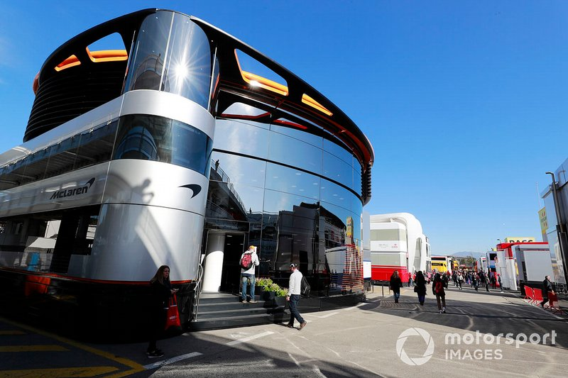 The McLaren motorhome in the paddock