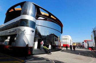 The McLaren motorhome in the paddock