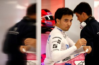 Sergio Perez, Racing Point in the garage before testing