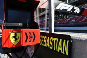 A pit board for Sebastian Vettel, Ferrari