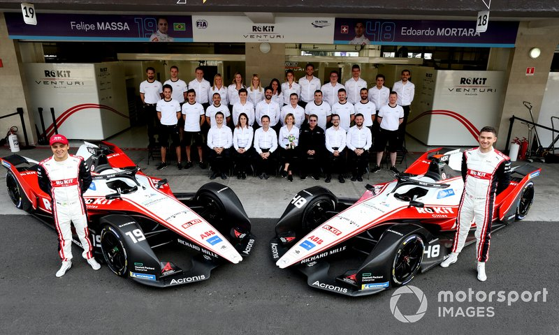 Felipe Massa, Venturi, EQ Silver Arrow 01, Edoardo Mortara, Venturi, EQ Silver Arrow 01, Susie Wolff, Team Principal, Venturi with the team