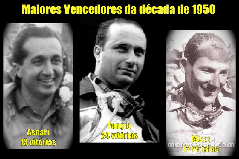 Os maiores vencedores da década de 1950 da Fórmula 1