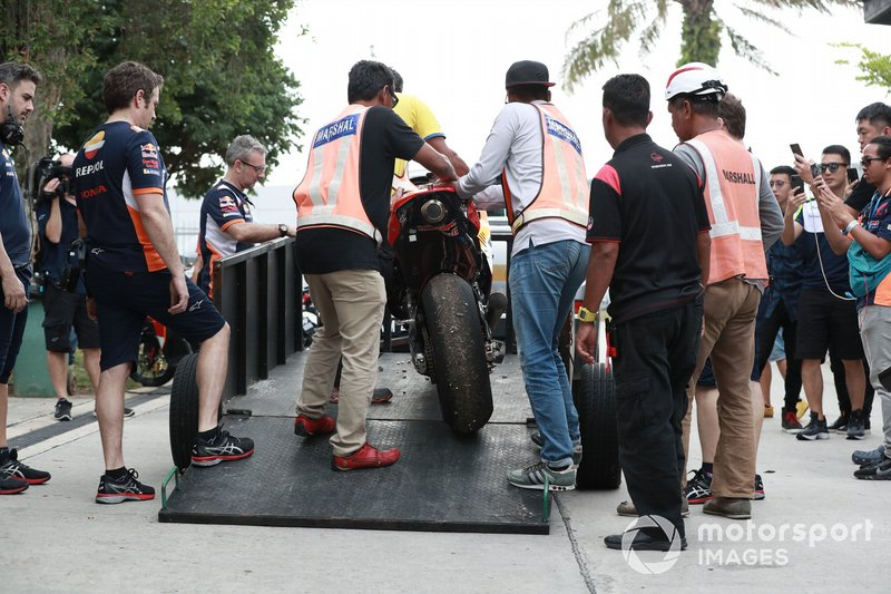Marc Marquez, Repsol Honda Team's crashed Honda