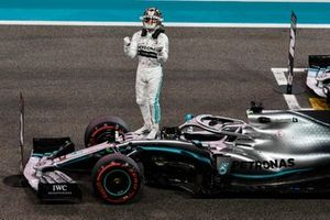 Lewis Hamilton, Mercedes AMG F1, on the grid after securing pole