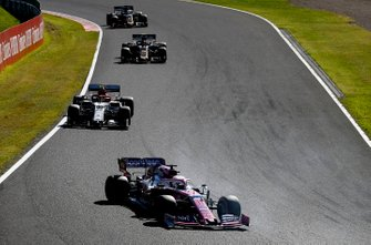 Sergio Perez, Racing Point RP19, Antonio Giovinazzi, Alfa Romeo Racing C38, Kevin Magnussen, Haas F1 Team VF-19, y Romain Grosjean, Haas F1 Team VF-19