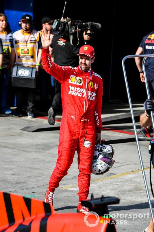 Sebastian Vettel, Ferrari, waves to fans after Qualifying