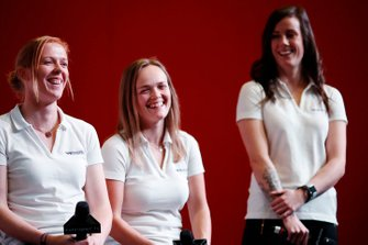 W Series drivers Alice Powell, Sarah Moore and Abbie Eaton are interviewed on the Autosport stage