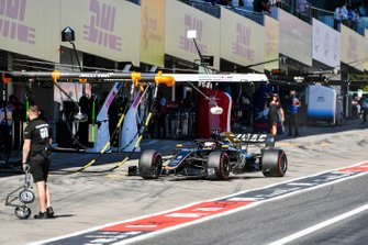 Romain Grosjean, Haas F1 Team VF-19, in the pits