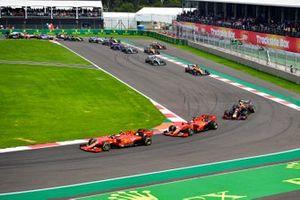 Charles Leclerc, Ferrari SF90 leads Sebastian Vettel, Ferrari SF90 and Alexander Albon, Red Bull RB15 at the start of the race