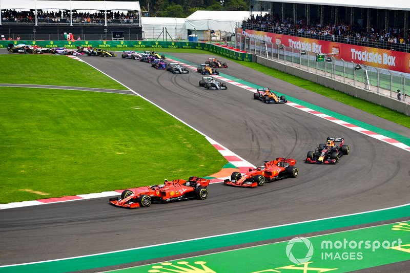 Charles Leclerc, Ferrari SF90 leads Sebastian Vettel, Ferrari SF90 and Alexander Albon, Red Bull RB15 at the start of the race