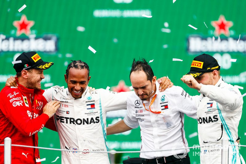 Sebastian Vettel, Ferrari, Race winner Lewis Hamilton, Mercedes AMG F1 and Valtteri Bottas, Mercedes AMG F1 celebrate on the podium