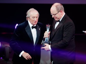 The Gregor Grant award for the Monaco Grand Prix is received by HSH Prince Albert II of Monaco, and presented by Sir Jackie Stewart