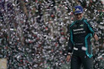 Mitch Evans, Jaguar Racing, 1st position, celebrates on the podium