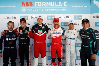 Sam Bird, Virgin Racing, Sébastien Buemi, Nissan e.Dams, Andre Lotterer, Porsche, Pascal Wehrlein, Mahindra Racing, Nyck De Vries, Mercedes Benz EQ, Mitch Evans, Jaguar Racing