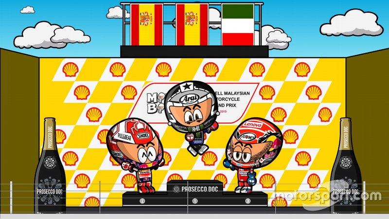 El podio del GP de Malasia 2019, por MiniBikers