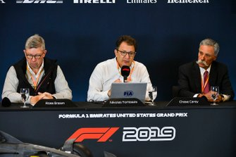 The 2021 Formula 1 technical regulations are unveiled in a press conference, FIA, Ross Brawn, Managing Director of Motorsports, FOM, Chase Carey, Chairman, Formula 1 and Nikolas Tombazis